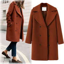 Vogue New Double Breasted Women Wool Blends Coat Winter Autu
