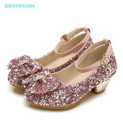 Детская обувь с блестками, Enfants, новая свадебная обувь для маленьких девочек, платье принцессы на высоком каблуке, вечерняя Обувь для