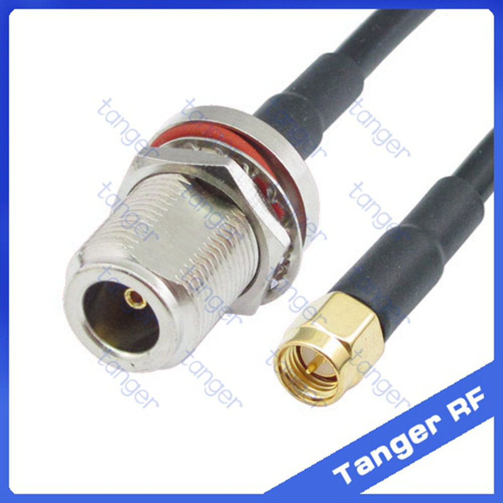 Hot sale Tanger N female jack waterproof with nut to SMA male plug RF RG58 Pigtail Jumper Coaxial Cable 20inch 50cm High Quality цена