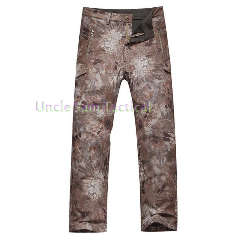 TAD Mens Military Shark Skin Outdoor Pants Soft Shell Waterproof Fleece Trousers