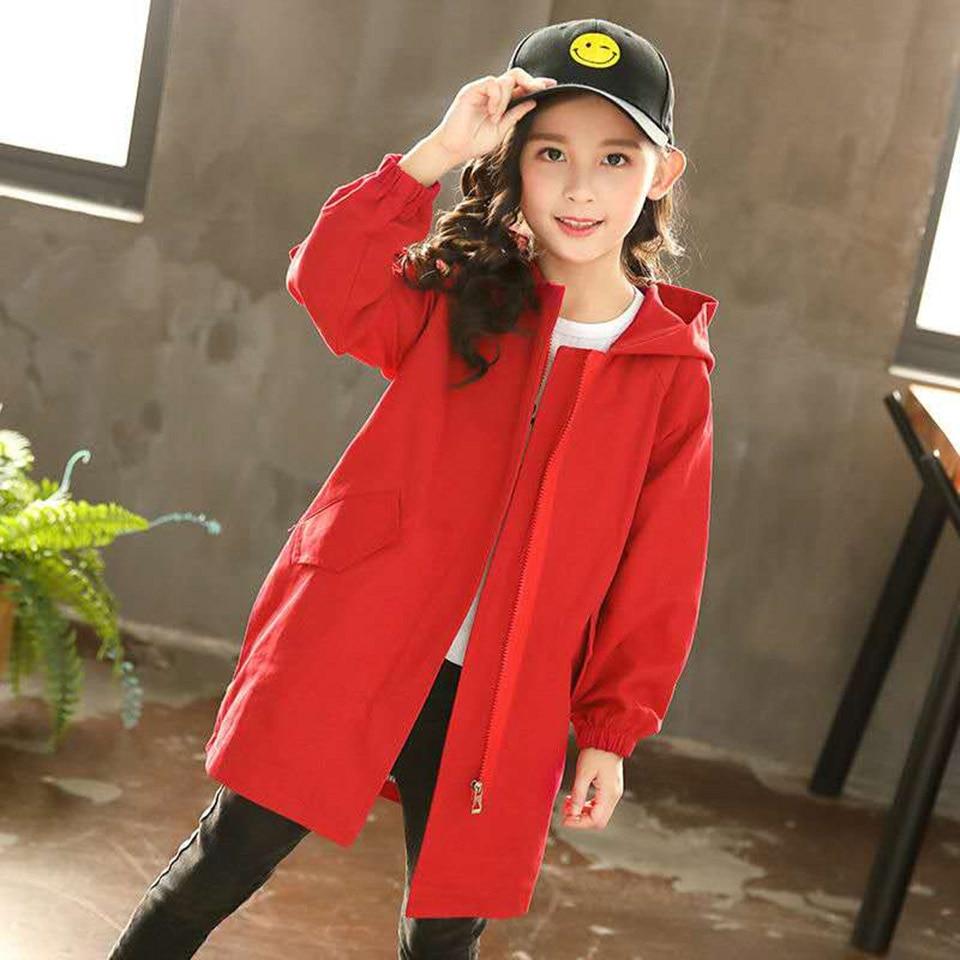 Модный Плащ для девочек Свободная стильная одежда с капюшоном для девочек подростков 6, 7, 8, 9, 10, 12, 14 лет