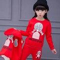 Детская Одежда Набор Для Девочек Мода Winter2016 Капюшоном Куртка + Хлопок Брюки + Блузка 3 Шт. Костюм Пиджаки Теплый дети Костюм