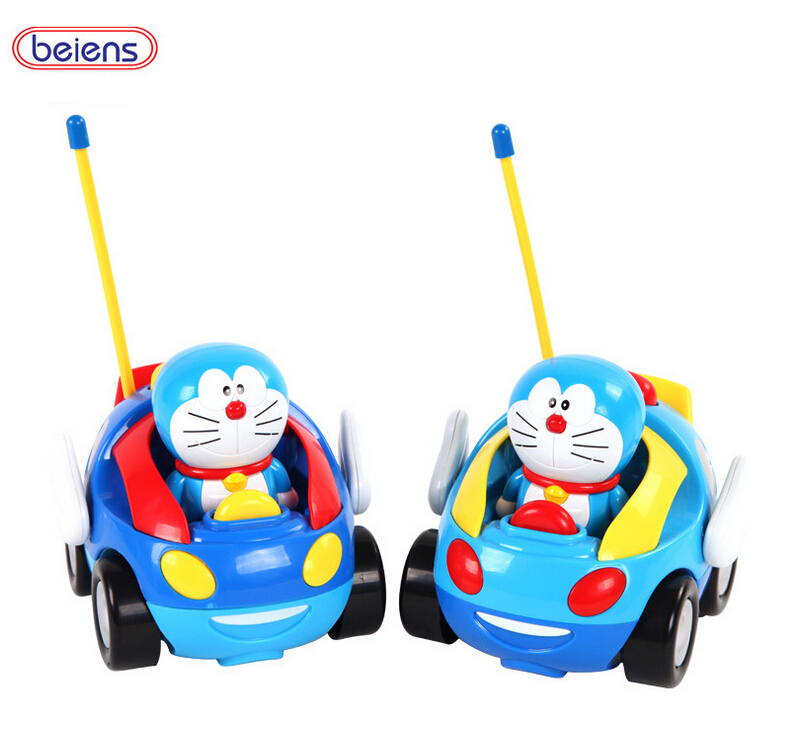 Cartoon Doraemon Remote Control Car Beiens Brand Kid RC Toys Free Shipping ABS High Quality Yellow Red Cute Fun For Children