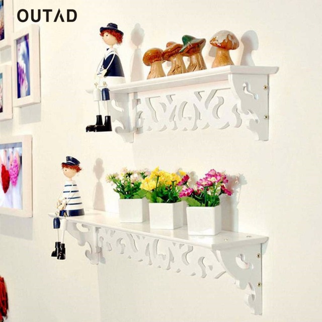 Outad decorative wall hanging shelf rack ledge bracket shelvesholder hollow design living kids Decorative wall shelves for bedroom