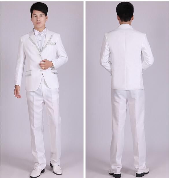 Men S Dress Suit And White Singer Groom Costume Party White Linen