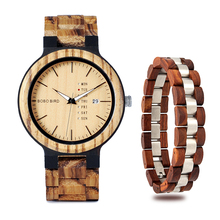 BOBO BIRD Bracelet Watch two-pieces Set Fashion Quartz Wristwatch Wooden Timepie