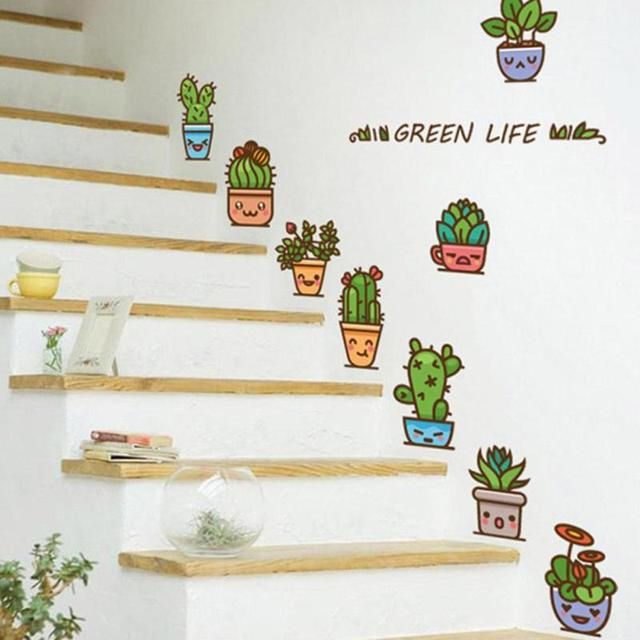 Cute Plant Wall Sticker Bedroom Window Cactus Stickers Stairs Home Living Decor Decals For Kids Rooms