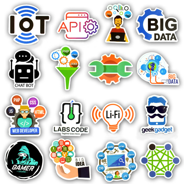50 PCS Cool Programming Stickers Logo Internet Software Sticker Funny Gift for Geeks Hackers Developers to DIY Laptop Phone  2