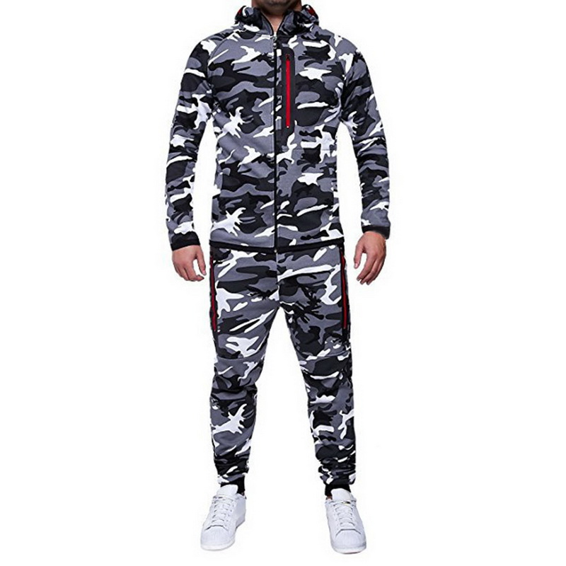 Shujin Fashion Camouflage Print Sweatshirt Jackets Pants Set Men Autumn Warm Outerwear Tracksuit Casual Mens Sportswear Suit