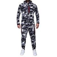 Shujin Fashion Camouflage Print Sweatshirt Jackets Pants Set Men Autumn Warm Outerwear Tracksuit Casual Mens Sportswear Suit