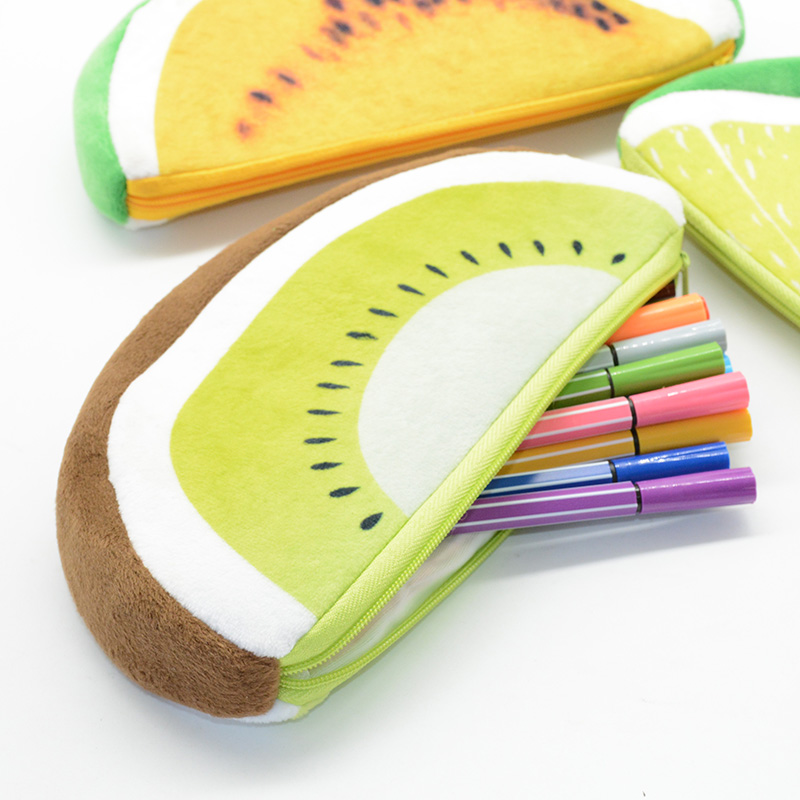 Pencil Case Estuche Escolar Estojo Astuccio Scuola Pencilcase Kawaii Plush Watermelon Kiwi Dragon Fruit Trousse Scolaire Stylo