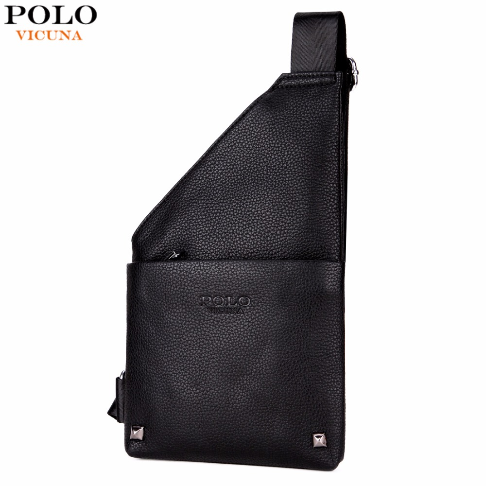 VICUNA POLO Slim Chest Bag For Man Black Leather Men Crossbody Messenger Bag Single Shoulder Bags With Rivet Travel Man Bags famous brand men chest bags theftproof open fashion leather travel crossbody bag man messenger bag crazy horse leather bag chest