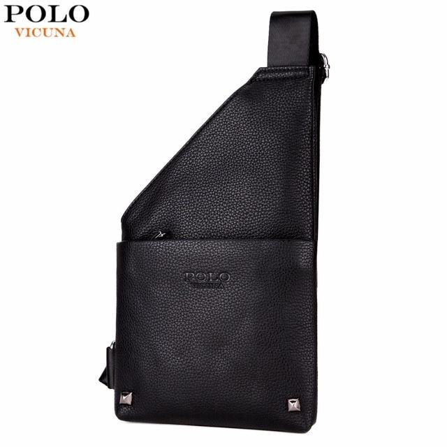 c0a3fed7ef5d VICUNA POLO Slim Chest Bag For Man Black Leather Men Crossbody Messenger Bag  Single Shoulder Bags With Rivet Travel Man Bags