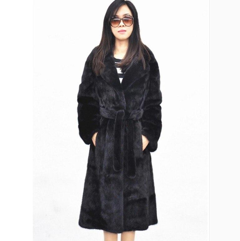 Hiver Manteau down Furry Vison Ceinture Col Moelleux Turn Vetement Mince Femmes Long Fourrure Taille Aw306 Veste Faux De Plus Outwear 2018 Sn5zqBA