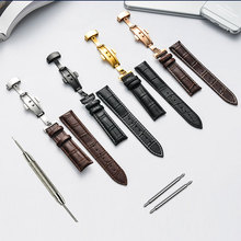 New High quality Genuine leather watchband 16MM 18mm 19mm 20mm 21mm 22mm leather strap for Tissot watch with folding buckle genuine leather watchband for oris culture aviation watch band butterfly buckle strap wrist belt 18mm 19mm 20mm 21mm 22mm 24mm
