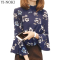 YI-NOKI Fashion Flowers Printing Blouse Spring Summer Tops Plus Size Women Clothing Horn Sleeve Chiffon Women Blouses Vetements