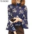 Yi-noki moda flores impressão blusa primavera verão tops mulheres plus size clothing chifre manga chiffon mulheres blusas vetements