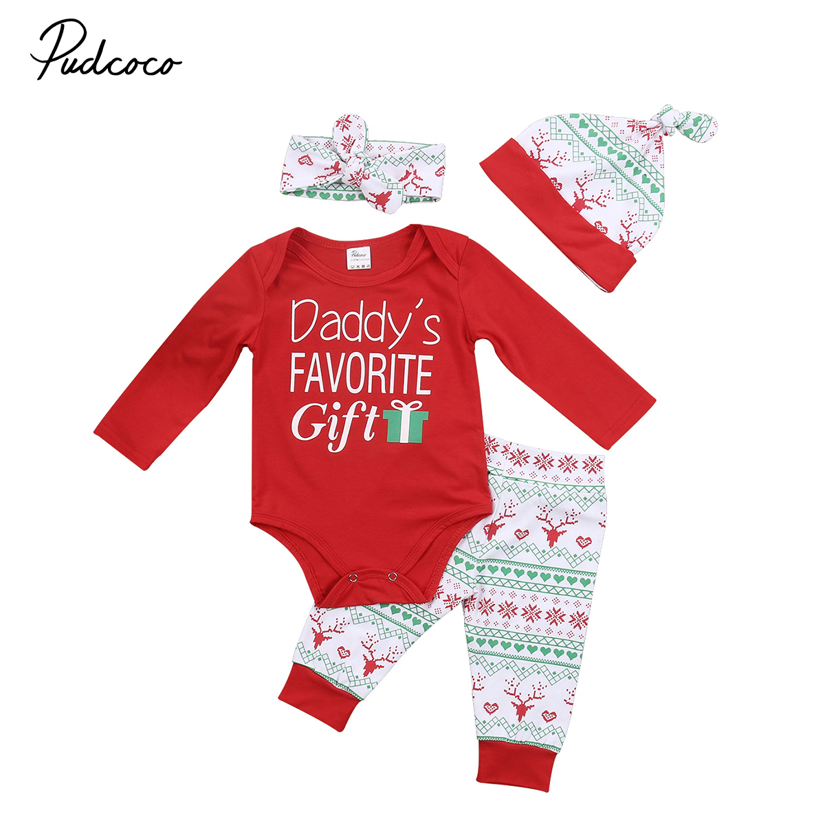 2017 New Baby Infant Boys Girls Christmas Clothes Long Sleeve Letters Romper Boho Snow Print Pants Hat Handband Outfits 4pcs