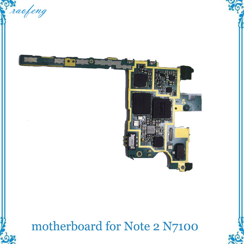 Original Well worked For Samsung Galaxy Note 2 N7100 Motherboard Unlocked mainboard  with chips logic  board(China)