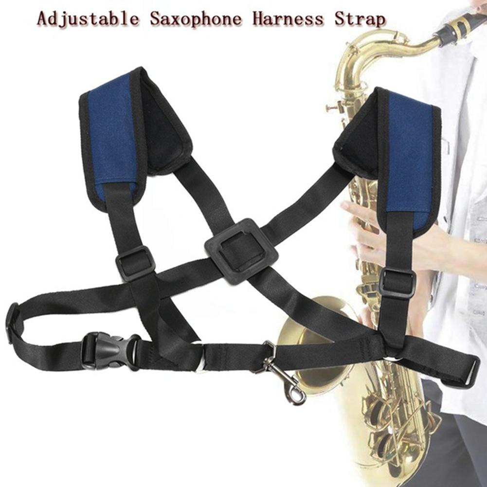 NEW Adjustable Tenor Alto Saxophone Sax Belt Double Shoulder Strap With Metal Hook