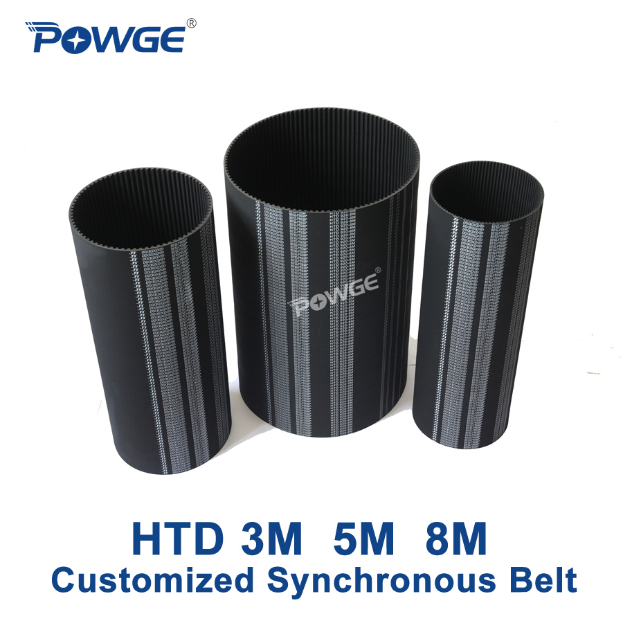 POWGE Arc Teeth HTD 3M 5M 8M Synchronous Belt Rubber Customized production all kinds of HTD3M