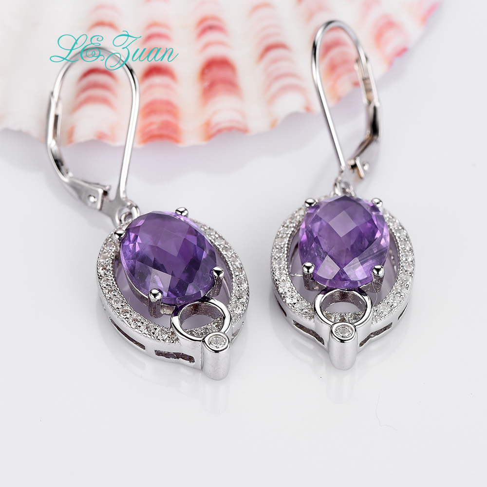 L&zuan 5.05ct Checkerboard Cut Gems Drop Earrings Natural Amethyst Real 925 Sterling Silver Jewelry Luxury Earrings For Women stylish silver plated cut out rhinestone heart earrings for women