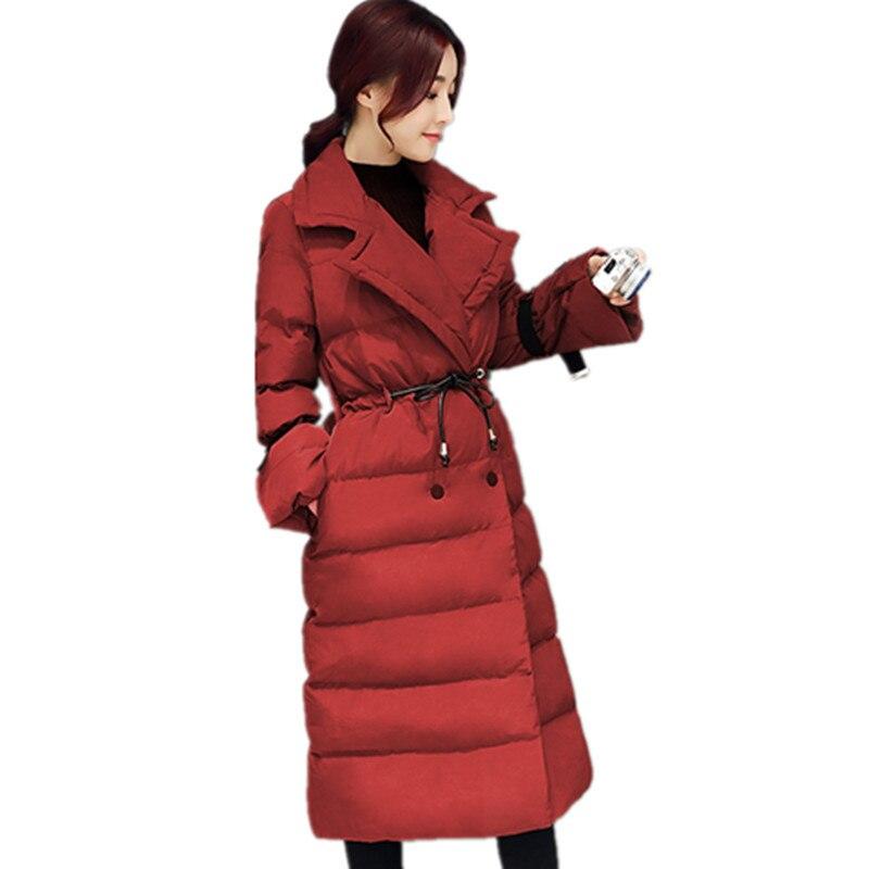 2018 Veste D'hiver Femmes Réglable Taille Longue Parkas Vogue Vers Le Bas Coton Manteau Abrigos Mujer Ouatée Hiver Parka Manteaux Maxi C3385