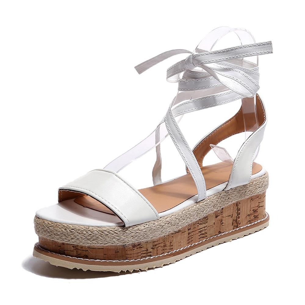 Sagace 2018 Chaussures Épais forme Femmes Size35 Romaines Tissé Sandales Gold fond Sandalse 43 Wedge white Conception Plate Chaude Étanche rnrXgwFpqx