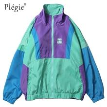 Plegie otoño Hip Hop Windbreaker chaqueta de gran tamaño para hombre  Harajuku Color Block chaqueta abrigo Vintage Zip Track chaq. 34b06220fef