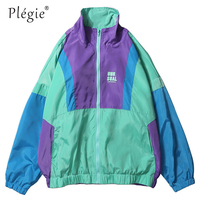 Plegie Autumn Hip Hop Windbreaker Jacket Oversized Mens Harajuku Color Block Jacket Coat Vintage Zip Track Jacket Streetwear