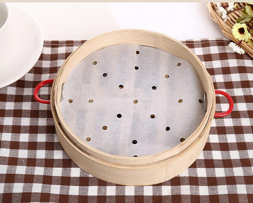 Whole Price 50pcs 10 Inches Cooking Paper Bamboo Steamer Dim Sum Non Stick Restaurant Kitchen
