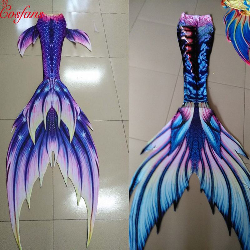 3PCS Adult Child Mermaid Swimming Tail With Monofin bikini, plastic children, adult girls, women's Cosplay costumes swimsuit