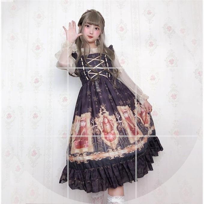Original vintage impression douce lolita robe palais dentelle bowknot robe victorienne kawaii fille gothique lolita jsk cos lol - 3
