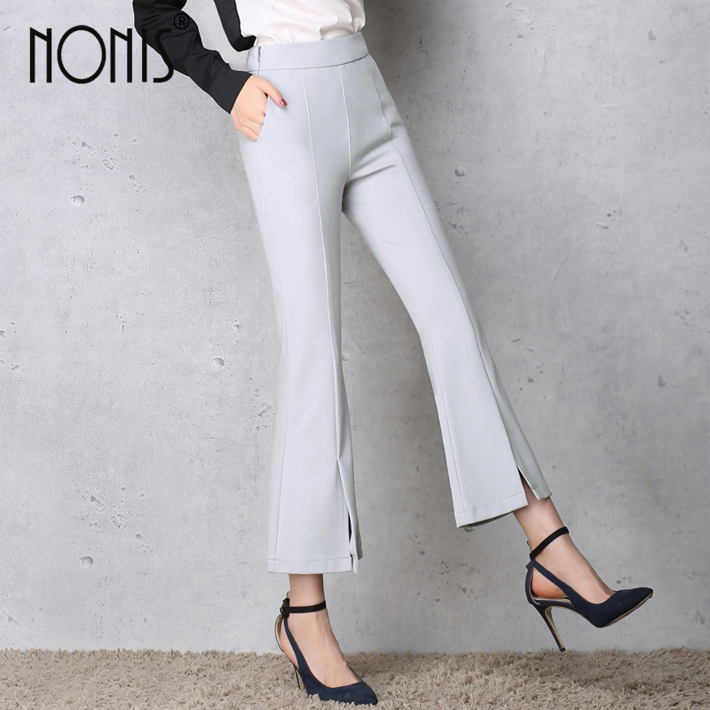 Nonis 2017 New Design Women Vintage Flare Pants Spring Autumn High Waist Micro Elastic Trousers Ankle Length Boot Cut Slim Pants