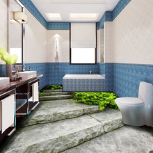 3D Floor Sticker Wall Painting Stone Steps Small Road Bathroom