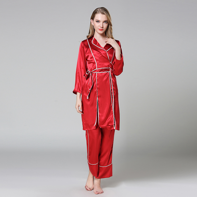 Sexy Red Ladies Satin Sleepwear   Pajamas     Set   Turn-down Collar Sleep Suit Silky Long 2PCS Home Clothes Casual Robe Gown M L XL