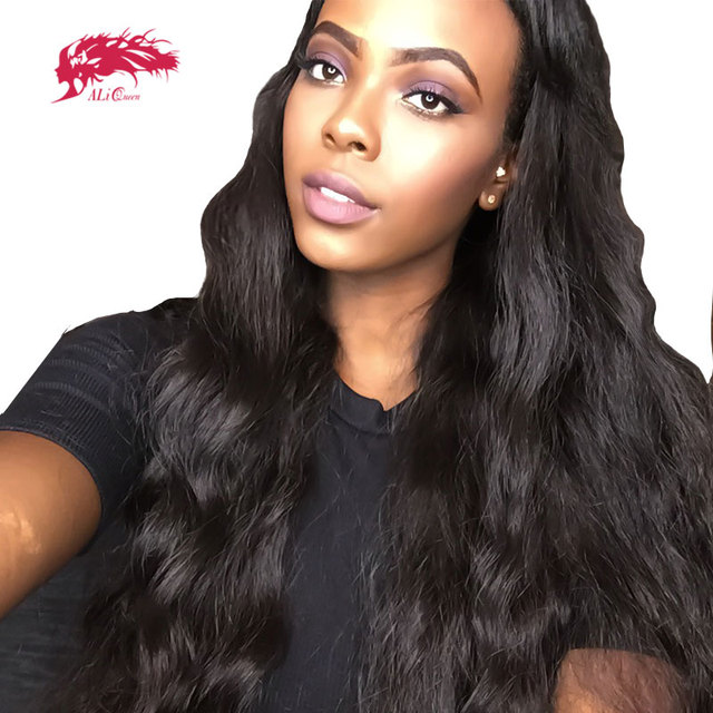 "ALi Queen Brazilian Body Wave 5x5 Lace Closure Wig With Baby Hair 8"" to 24"" Virgin Remy Human Hair Lace Wigs"