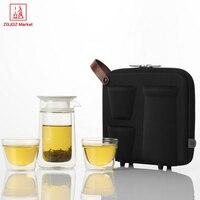 ZGJGZ Concetto Creativo Personalizzato Viaggi Insieme di Tè Vaso di Bottiglia Doppia Parete Tazze di Tè di Vetro Teiera Con EVA Sacchetto di Immagazzinaggio