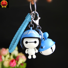 Car Keychain Creative Helmet Big White Nylon Rope Key Rings Cute Doll Bag Pendant Ornament Holder Auto Accessories