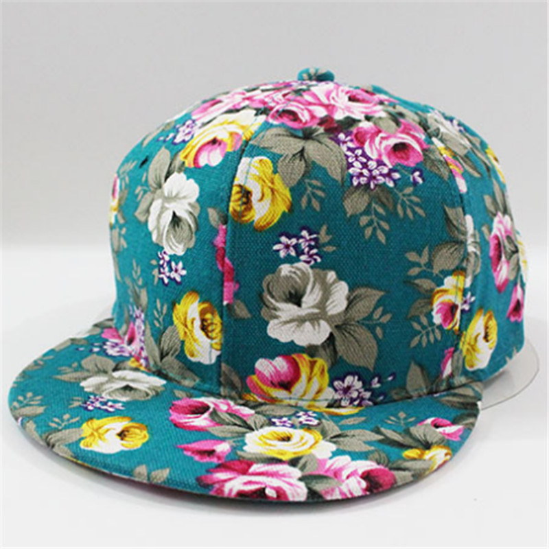 3bcf5c76bf3 New 2018 Floral Printing Women s Snapback Caps Nice Baseball Cap Hip Hop  Flat Hats Fashion gorras mujer Cap With Straight Visor-in Baseball Caps  from ...