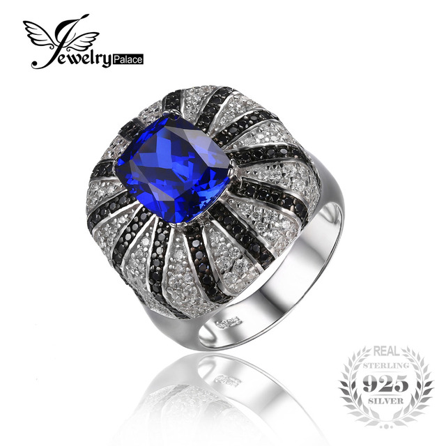 Jewelrypalace Luxury 3.9ct Created Blue Sapphire Natural Black Spinel Cocktail Ring Solid 925 Silver Ring New Fashionable Ring