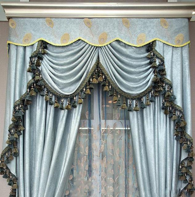 New Free shipping Grey green blue emboss cortinas Luxury Europe Curtain finished curtain with tulle sheet valance Beads curtains