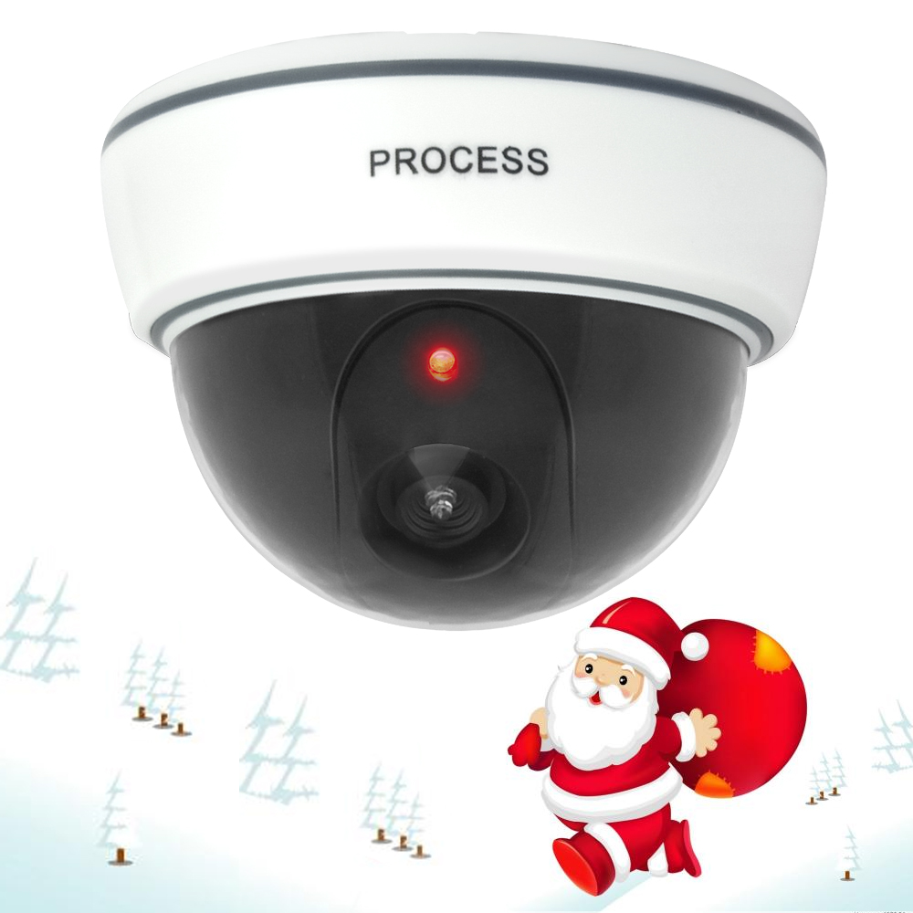 For Christmas Dummy Camera Fake Dome CCTV Camera Indoor Outdoor Red LED Flashing Light AA Batteries for Home Security