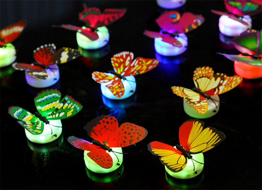 1 unidad de Color que cambia la mariposa LED luz de la noche con 3 piezas botón celular decoración de la pared de las luces de noche al azar