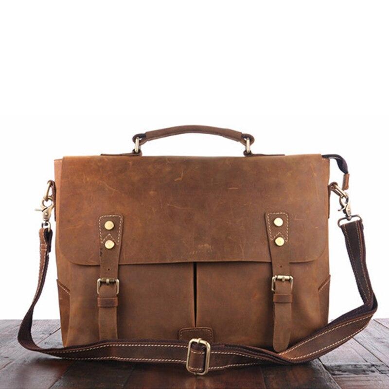 Crazy Aktentasche Handtasche Horse Taschen Vintage Business Leder aktentaschen Echtes Männlichen Schultertasche tasche Männer Leder Für Laptop 1dzZxz