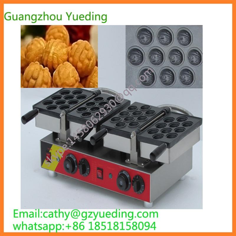 Hot sell walnut shape waffle machine|walnut cake making machine electric 20 pcs walnut egg cake waffle maker machine цены
