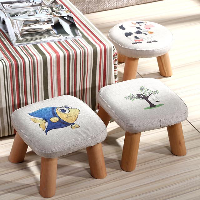 Pranchinha fezes para sapatos para crianças e adultos com pequeno pano cadeira de madeira fezes sofá pequeno banco de madeira