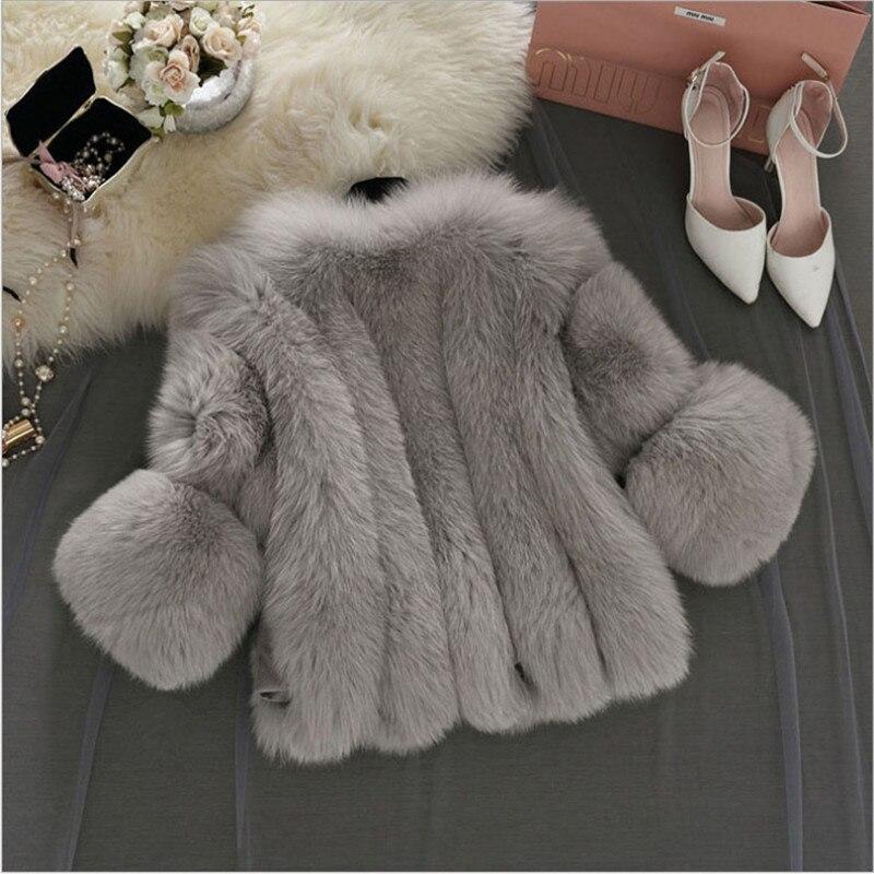 2017 Mince White Élégant pink trimestre Vêtements Sept Solide Femmes Manteau Chauds Plus Veste Faux De H4 Taille khaki gray Manches Fourrure La Style Courtes zzFx4q