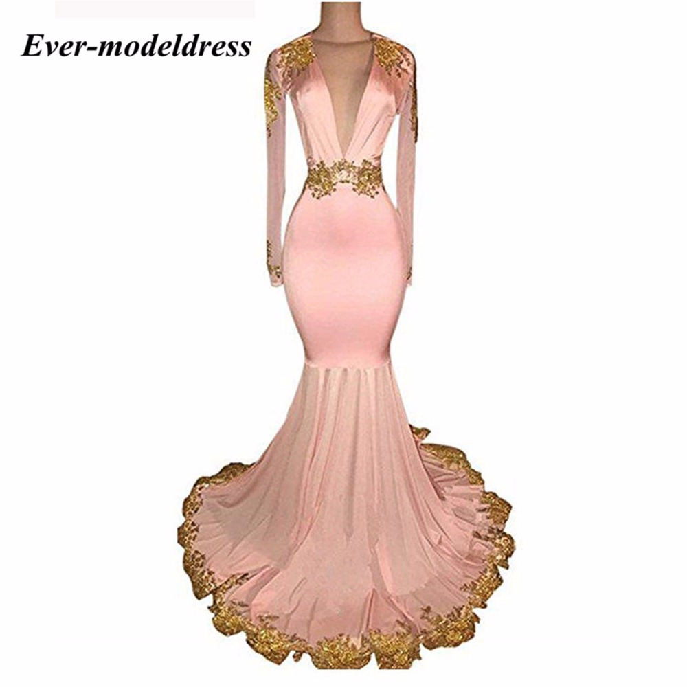 Ever-modeldress Hot   Bridesmaid     Dresses   V-Neck Appliques Mermaid Long Wedding Guest Prom Party Gowns