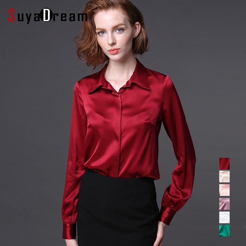 Women Real silk Blouse long sleeve Solid shirt Blusas femininas ...